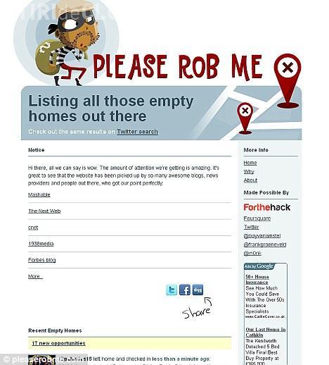 """""""Please rob me!"""". Site -ul care spune lumii intregi ca nu esti acasa"""
