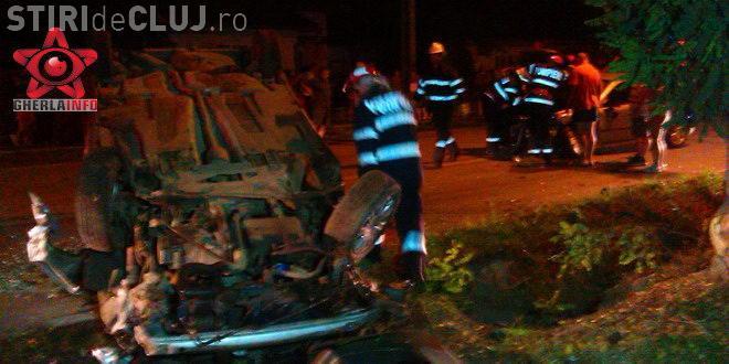 O șoferiță clujeancă s-a răsturnat cu mașina, după ce a lovit un autoturism într-o intersecție VIDEO