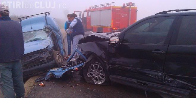 Carambol pe un drum din Cluj! Ceața a dus la un accident în lanț - FOTO
