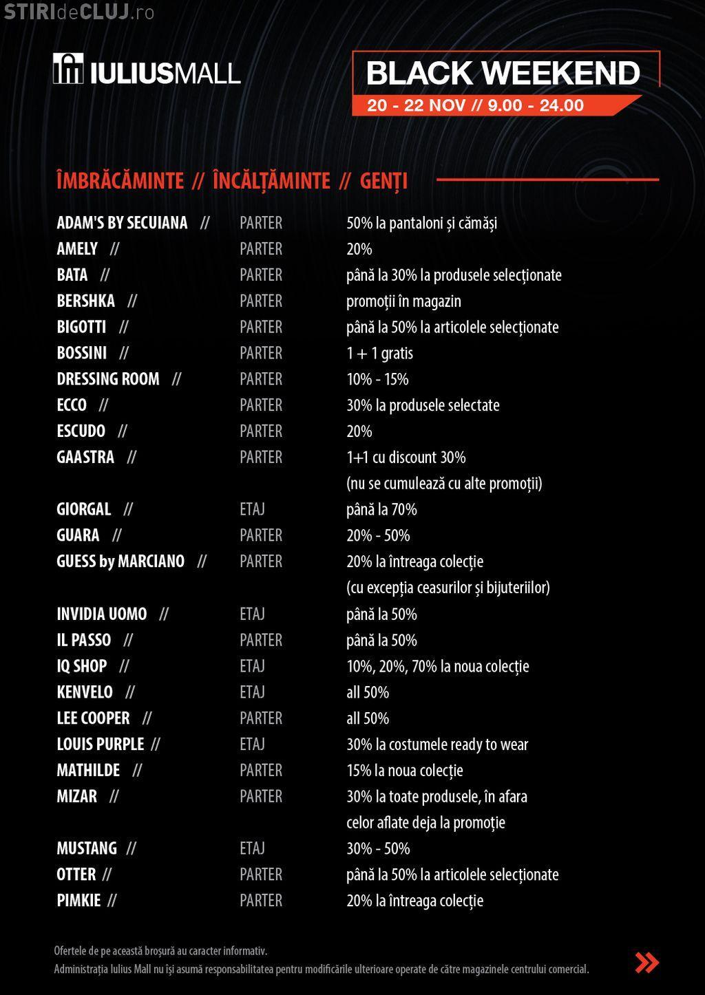 Promoții de până la 70%, de Black Weekend, la Iulius Mall Cluj (P)