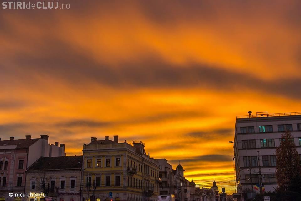 Apus MINUNAT de soare la Cluj - FOTO
