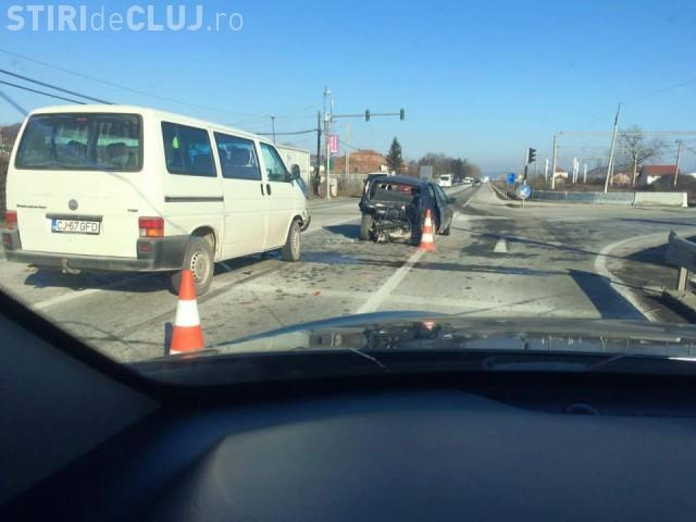 Accident la Jucu, într-o intersecție. Traficul a fost blocat FOTO