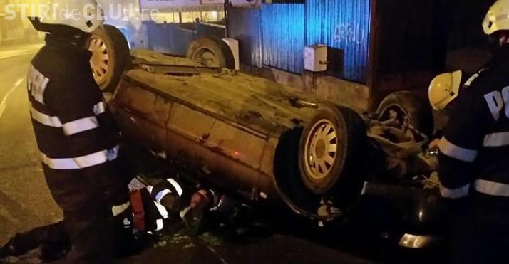 Accident pe Calea Turzii. Un tânăr băut s-a răsturnat cu mașina - VIDEO