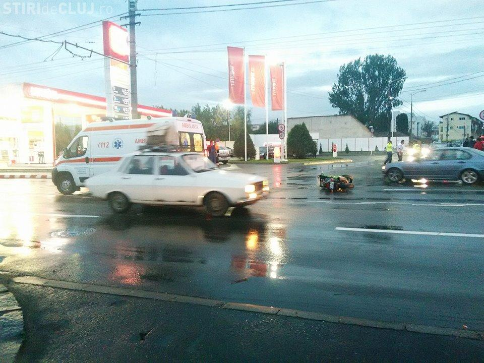 Accident în IRIS. Un motociclist a fost lovit. Poliția rutieră cere atenție în trafic - FOTO