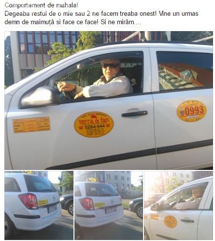 """Șicanare în trafic finalizată cu un gest de """"mahala"""" din partea unui taximetrist - FOTO"""