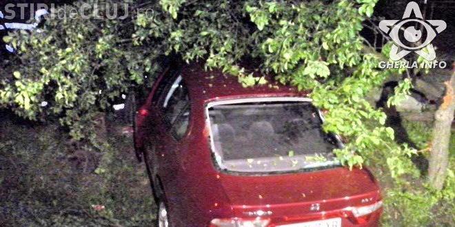 Un clujean s-a urcat beat la volan și a intrat cu mașina direct în copac