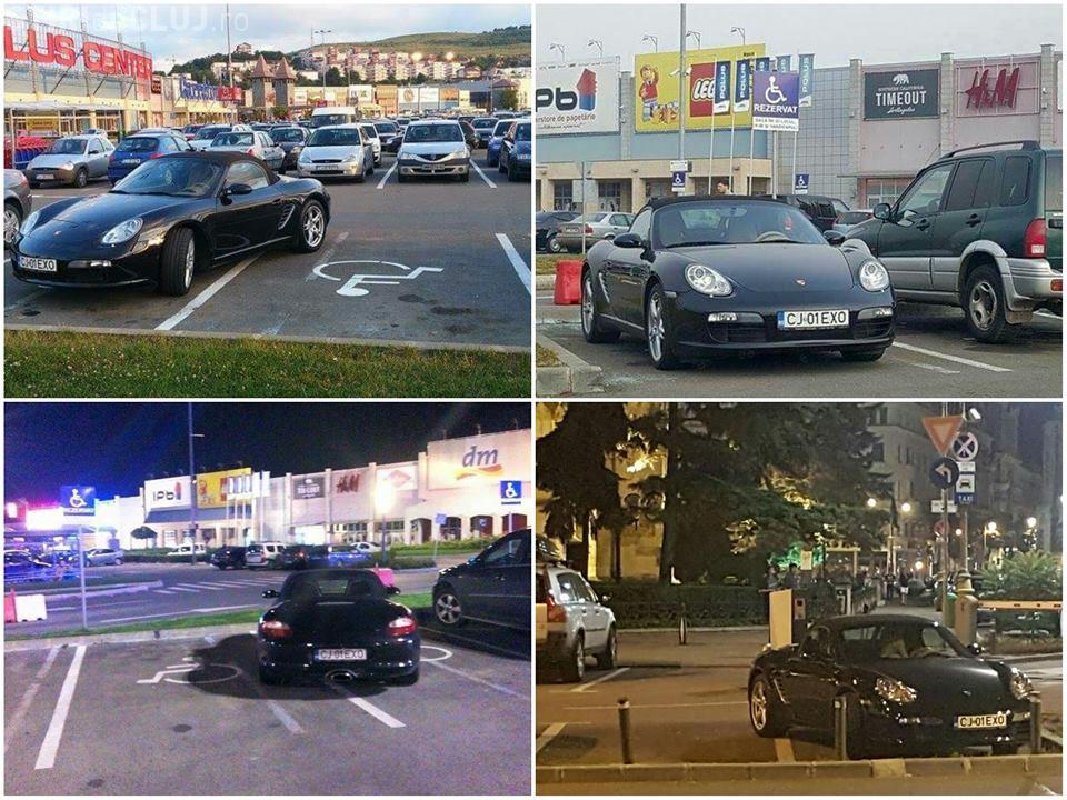 Un șofer cu Porsche e ABONAT la parcări pe locul persoanelor cu handicap - FOTO