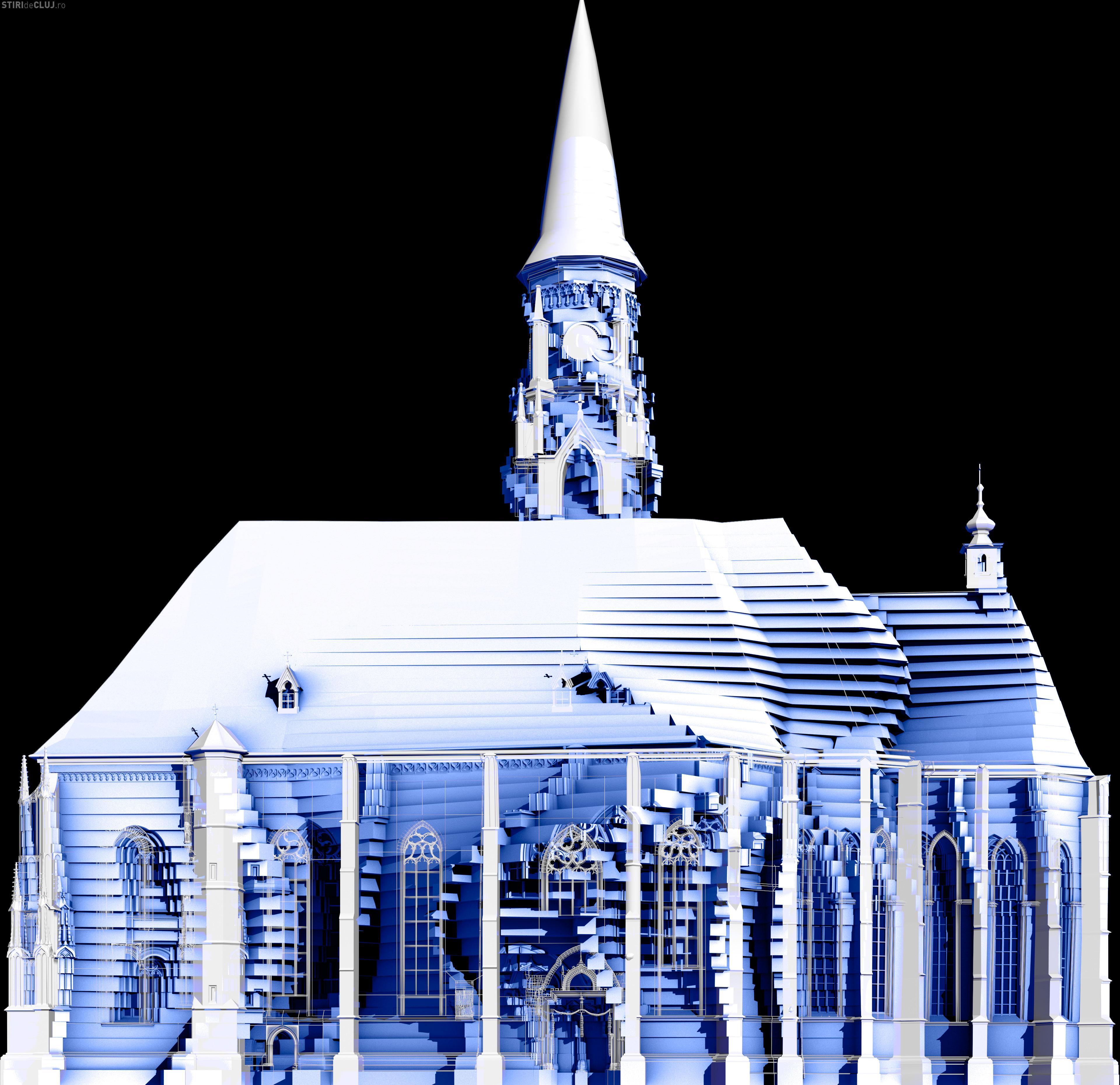 Video mapping pe zidul Bisericii Sfântul Mihail