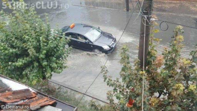 Furtuna a făcut PRĂPĂD la Dej. Canalizarea a refulat pe străzi, iar copacii au fost smulși din pământ