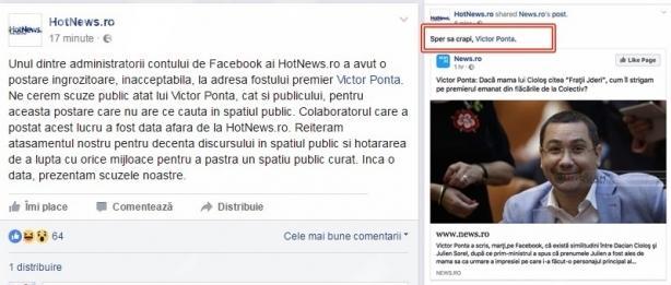 """L-au concediat pe angajatul HotNews care a postat pe Facebook mesaj: """"Sper să crapi, Victor Ponta!"""""""