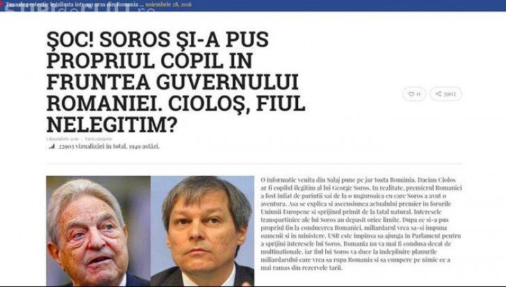 """Ştire falsă! """"Cioloş, copilul ilegitim al lui Soros"""""""