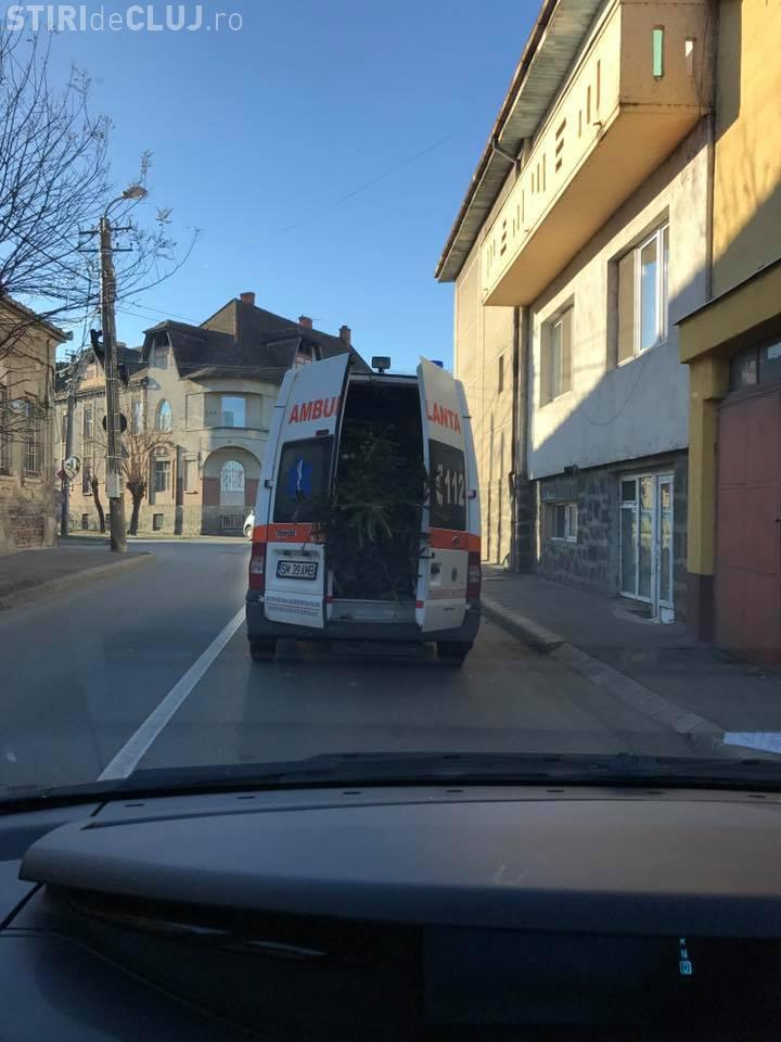 O ambulanță din Satu Mare transportă brazi de Crăciun - VIDEO
