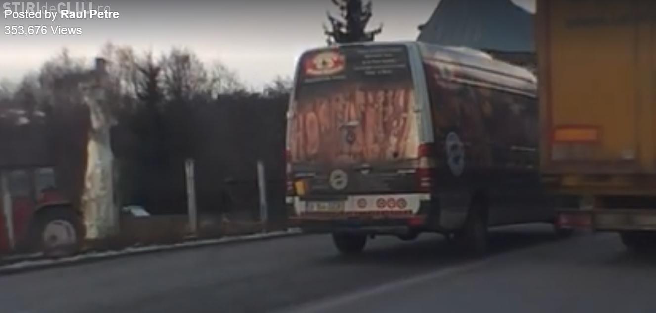 Șofer de la firma Sergiana, filmat într-o depășire CRIMINALĂ. Filmul e VIRAL pe Facebook - VIDEO