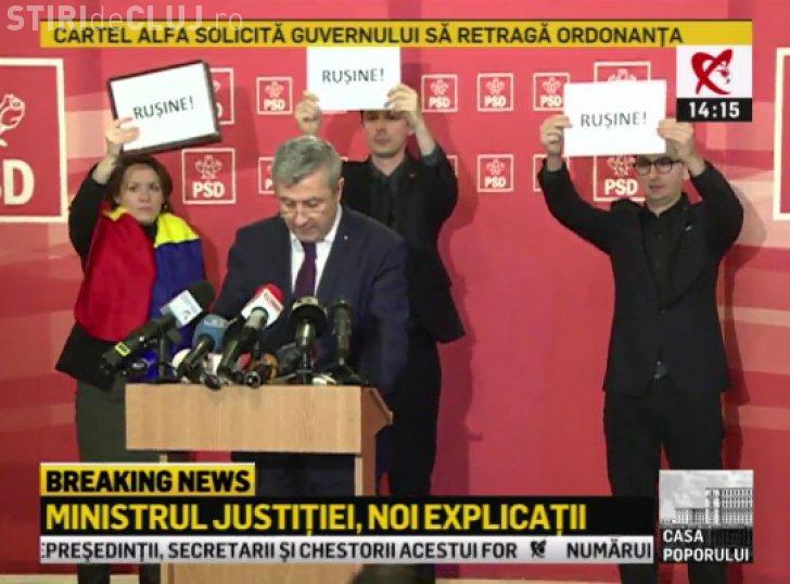 Ministrul Justiției, boicotat de parlamentarii USR într-o conferință de presă. Încearcă să justifice ordonanța grațierii FOTO