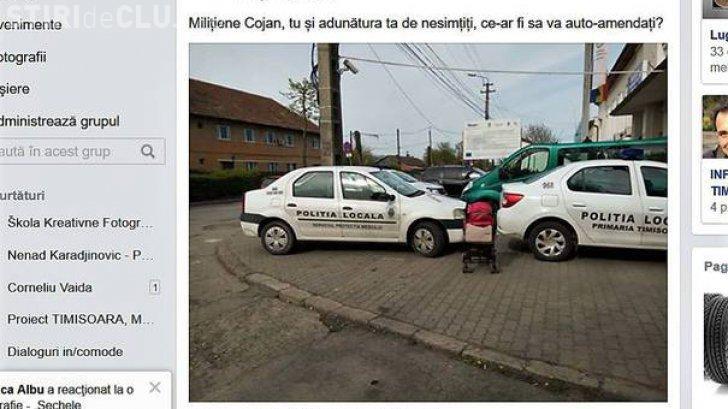 Român amendat cu 900 de lei pentru că a distribuit pe Facebook o fotografie cu maşini de poliţie