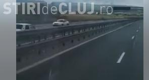 Culmea șoferiei, pe autostrada Cluj-Turda! Mergea cu Dacia, nestingherit, pe contrasens VIDEO