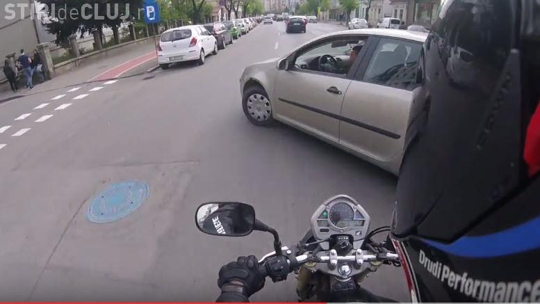 Accident cu un motociclist pe strada Dorobanților. A FILMAT totul - VIDEO