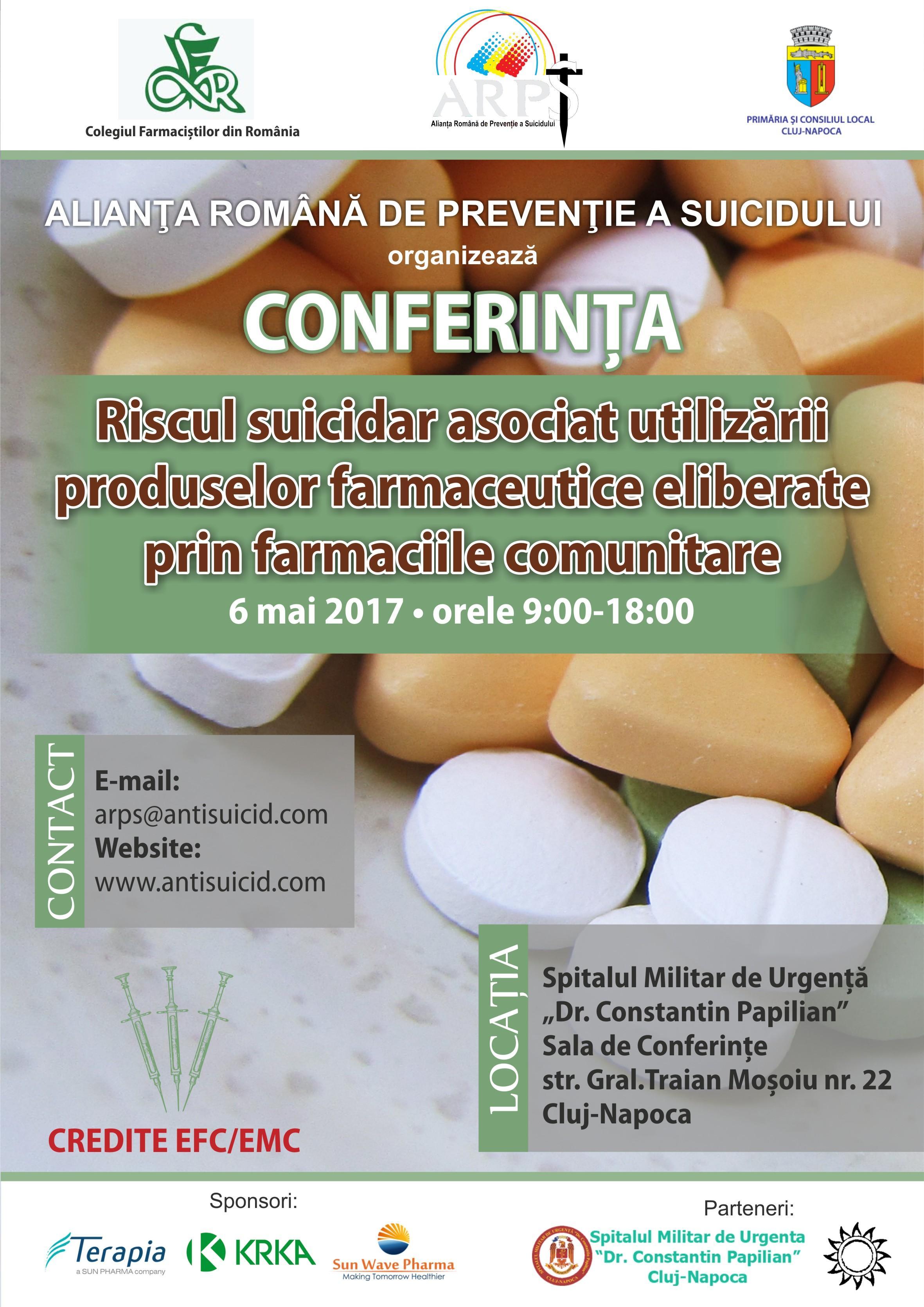 """Conferință la Cluj pe tema """"Riscul suicidar asociat utilizării produselor farmaceutice"""""""