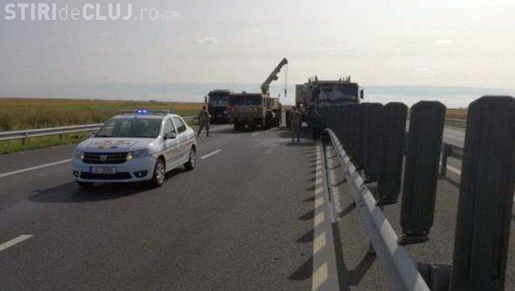 Convoi militar NATO, implicat într-un accident pe autostrada spre Nădlac