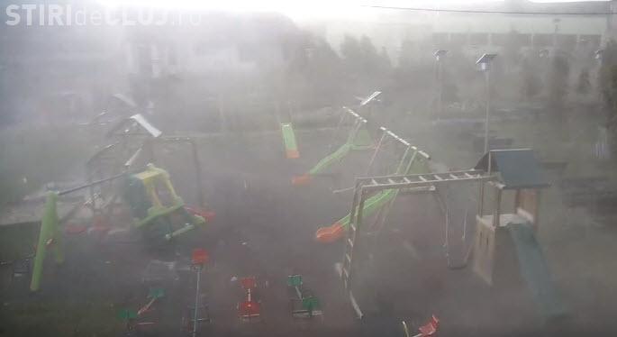 """Imagini needitate cu """"URAGANUL"""" din 17 septembrie. Filmarea e din Aghireșu - VIDEO"""