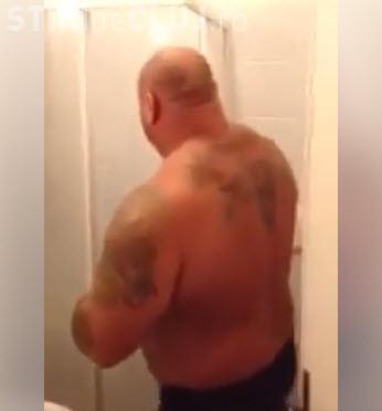 Moment amuzant cu Sandu Lungu. Cel mai puternic român nu încape în duș - VIDEO
