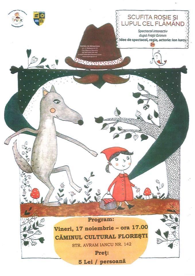Teatrul Puck ajunge la Florești, în 17 noiembrie