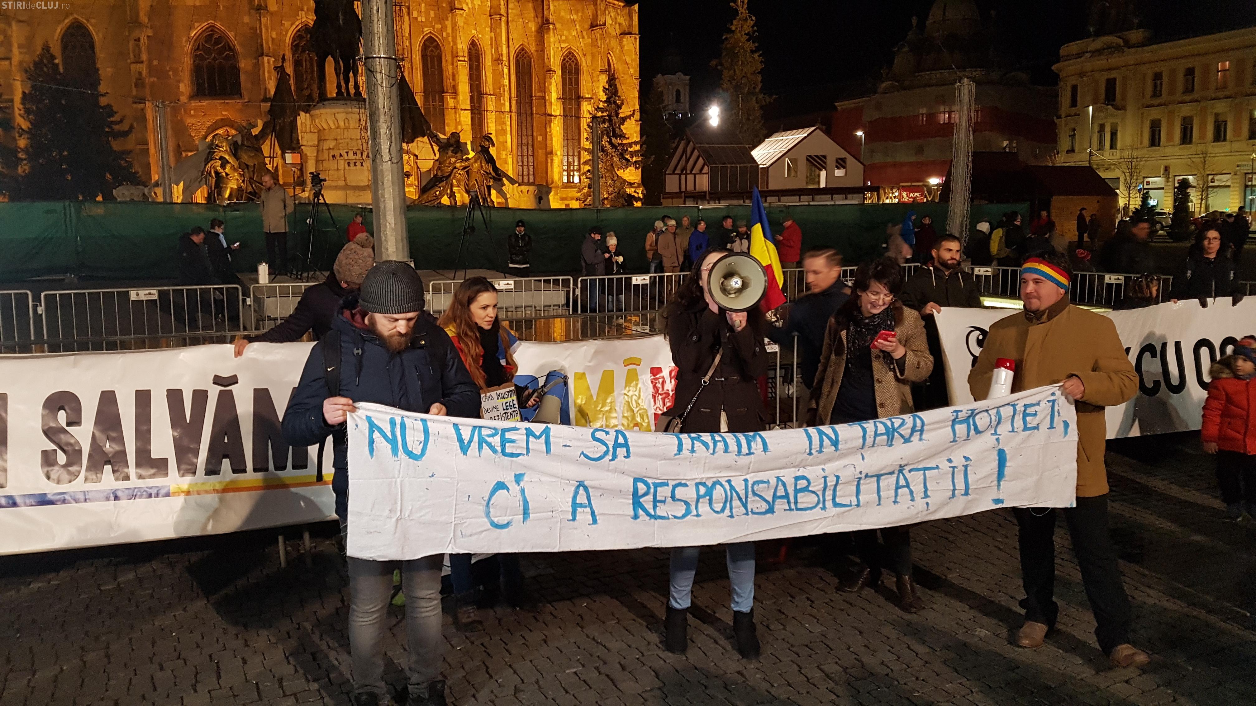 2.000 de clujeni au protestat împotriva PSD. S-a lansat imnul protestelor - VIDEO