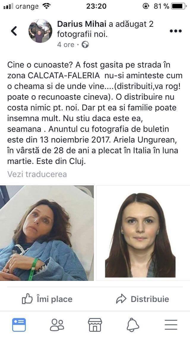 CĂUTĂRILE s-au încheiat! Informații despre tânăra din Cluj, dată dispărută - FOTO
