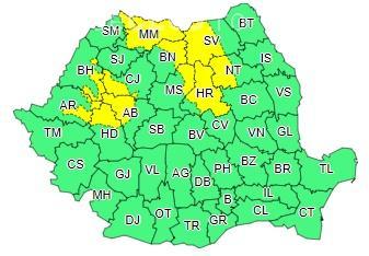 Cod galben de vânt, ninsori și lapoviță. O parte din Cluj este afectată