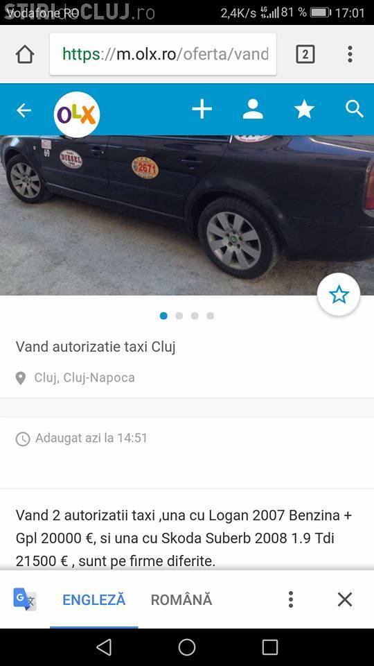 Cluj-Napoca: Licențe de taxi vândute cu 30.000 de euro