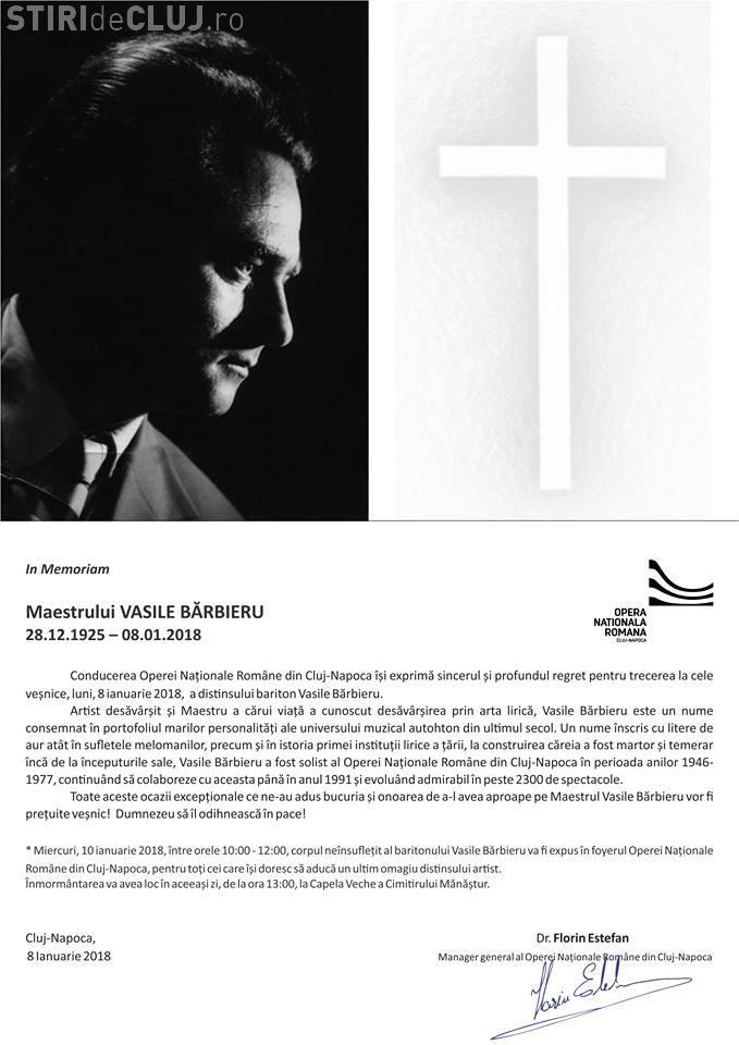 A murit un cunoscut bariton de la Opera Cluj