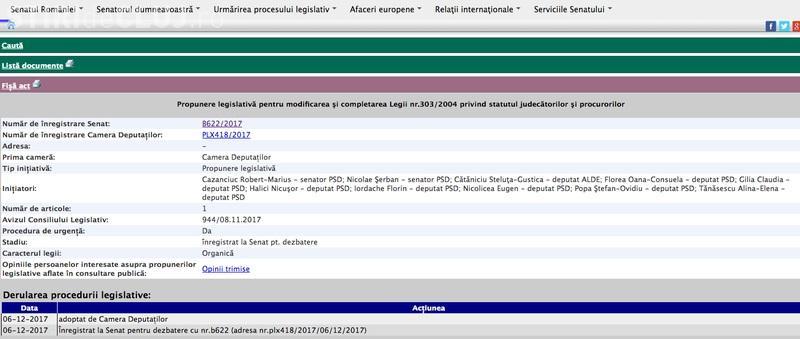 Seara ca HOȚII! Pe site -ul Senatului Legea statutului magistraților apare ca votată