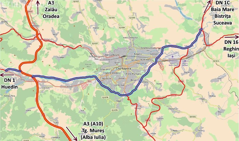 Harta Centurii Metropolitane a Clujului. Pe unde va trece drumul care ar putea debloca Clujul - FOTO