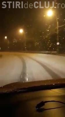 Circulație de iarnă pe drumurile din Cluj! A nins puternic - VIDEO