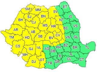 COD GALBEN de ploi în mai mult de jumătate de țară. Clujul este afectat