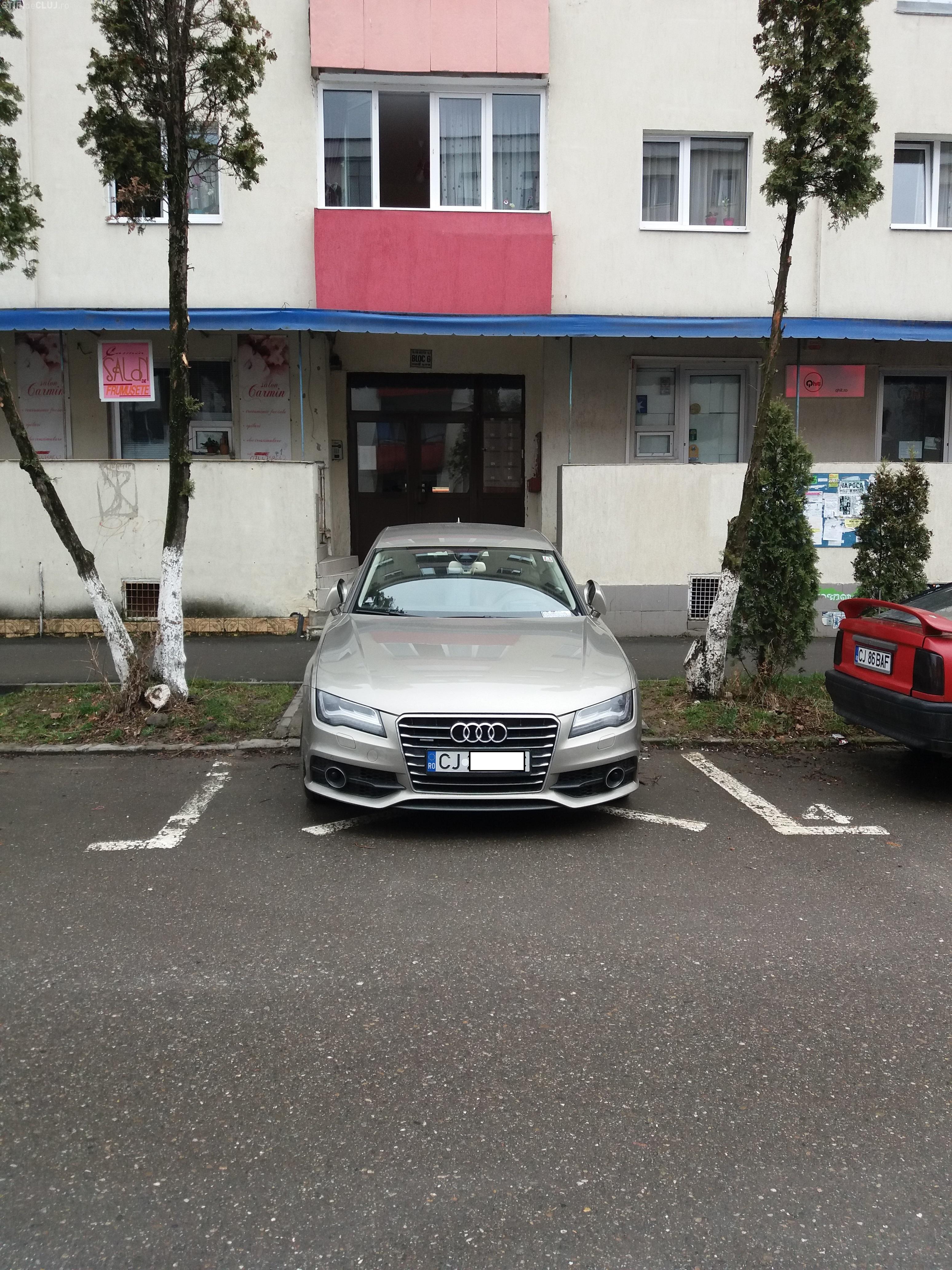 Cluj: Parcare de șofer șmecher în Mănăștur - FOTO