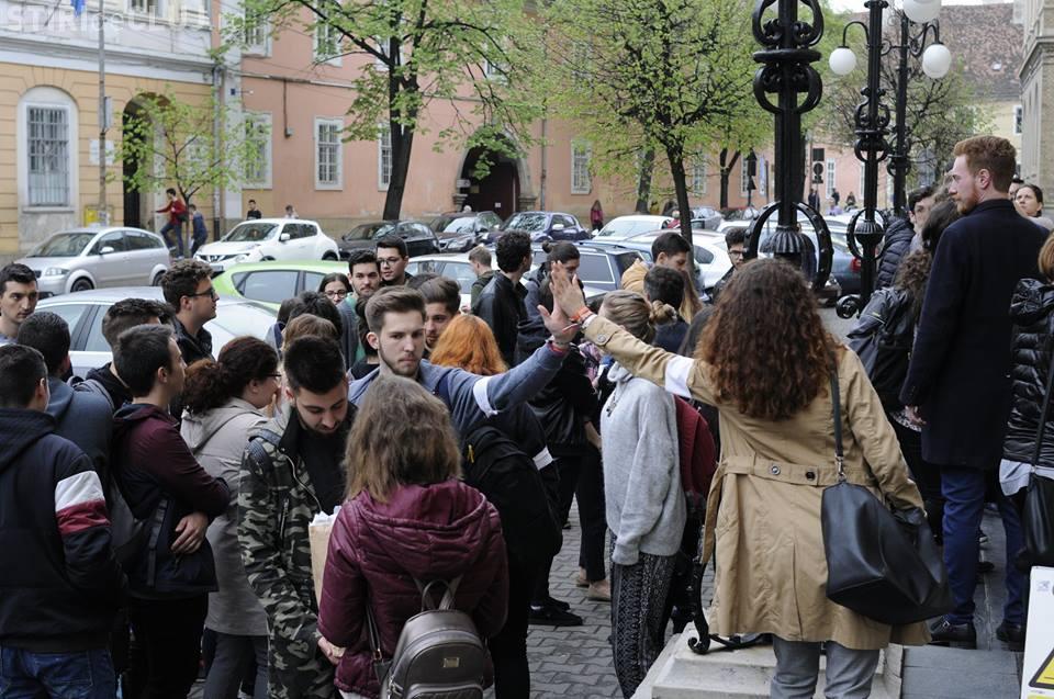 Studenții de la UBB Cluj au protestat față de tăierea finanțării