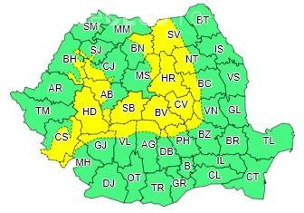 Cod galben de vant puternic, în mai multe județe din țară. Clujul este afectat