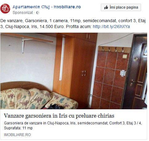 Cluj: Garsonieră de 11 mp fără baie = preț 14.500 de euro