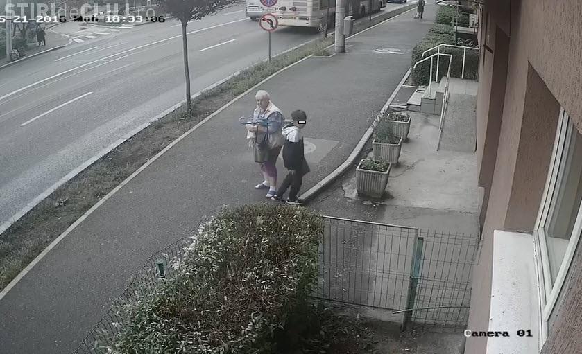 Cluj: Bunica își pune nepotul să fure plante ornamentale - VIDEO