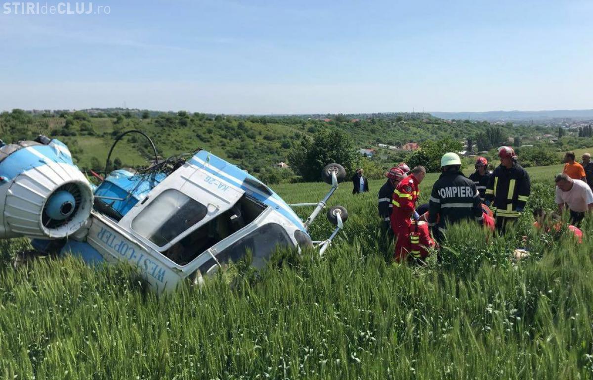 Turda: Un elicopter s-a prăbușit - FOTO