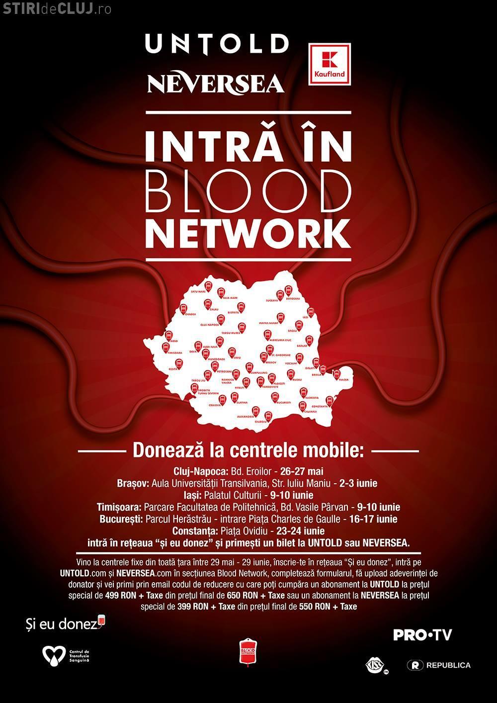 Donează sânge și mergi la UNTOLD și NEVERSEA! Începe a patra ediție a campaniei Blood Network