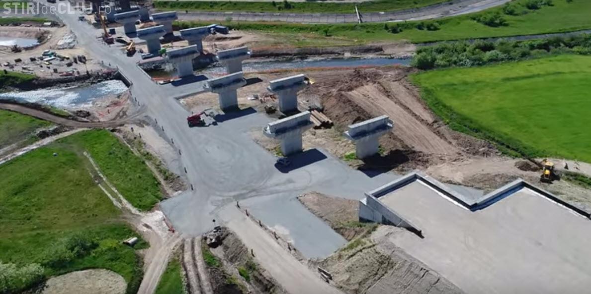 VIDEO cu drona la podul care se construiește peste râul Someşul Mic, lângă Gilău