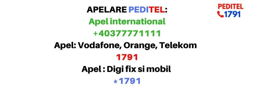 PEDITEL 1791 poate fi apelat de oriunde în lume, cu tarif normal