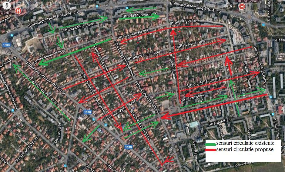 Propunere ca în cartierul Gheorgheni să fie numai SENSURI UNICE, în zona de case