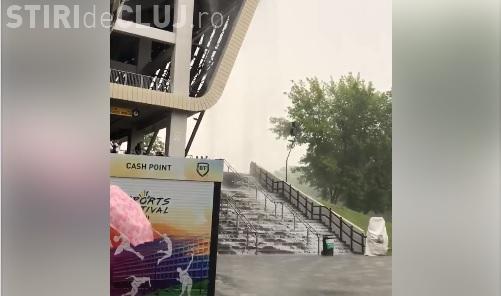"""""""Cascadă"""" pe scările de la Cluj Arena, în urma ploilor VIDEO"""