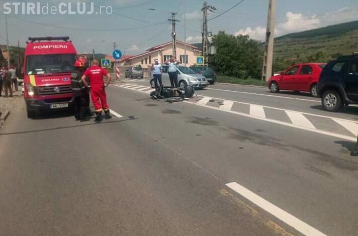 CLUJ: Motociclist spulberat de un șofer neatent, care încerca să întoarcă neregulamentar FOTO