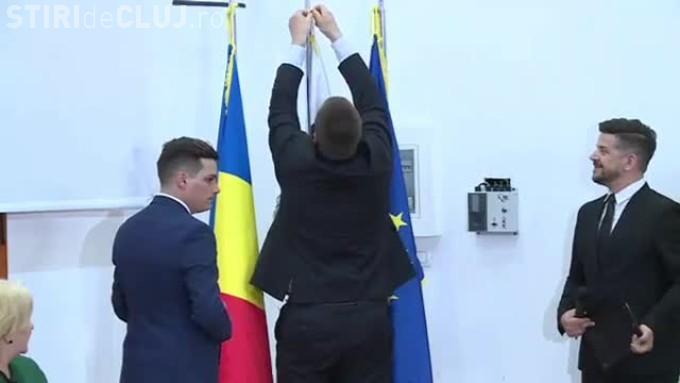 Steagul Estoniei, montat invers la întâlnirea cu Dăncilă. Premierul Estoniei a reparat gafa - VIDEO