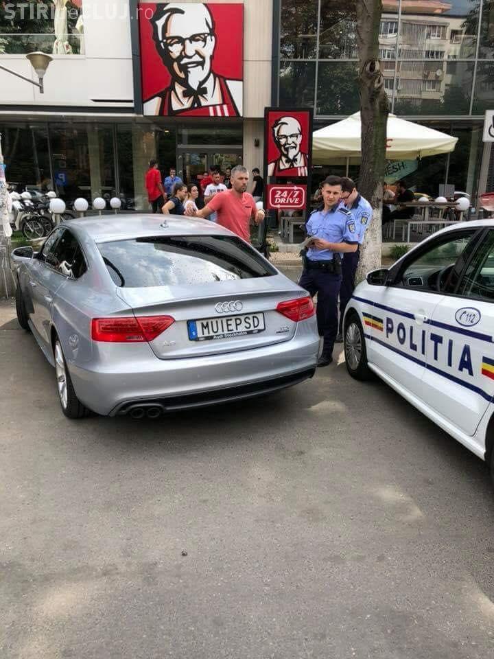 Șofer oprit de poliție pentru numărul de înmatriculare M..E PSD - FOTO