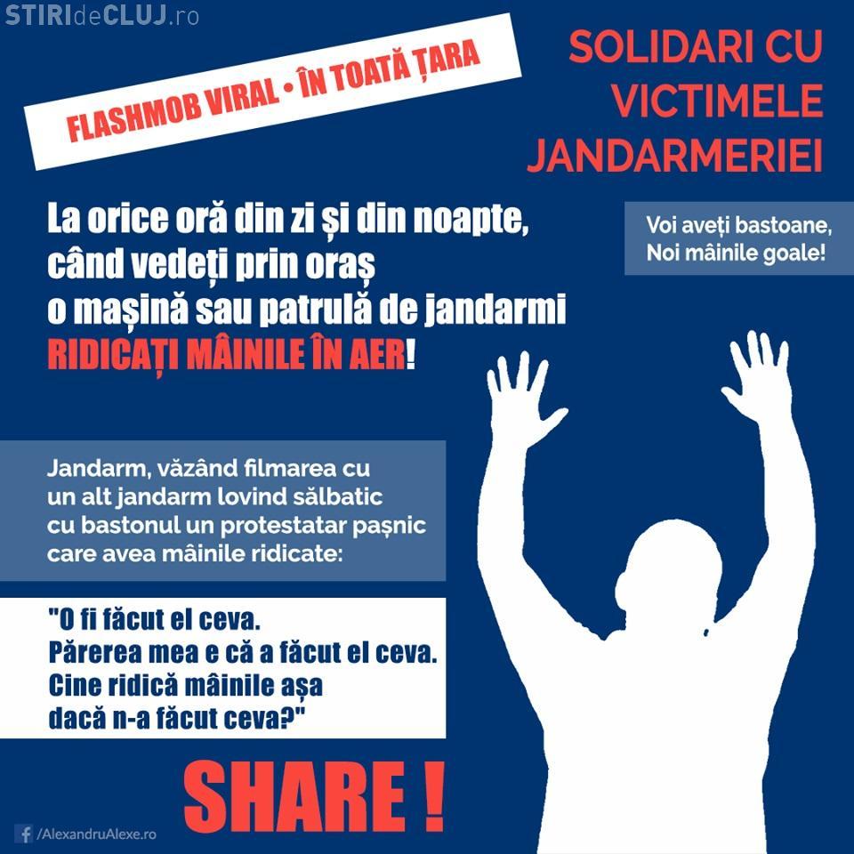 Flash mob de solidaritate cu victimele jandarmilor: Ridicați mâinile pe stradă dacă îi vedeți